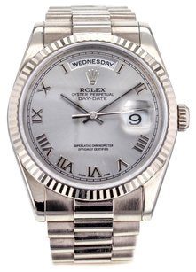 Rolex Men's Day-Date 118239 36mm Watch in 18k White Gold with Silver Roman Dial RLXGPW4