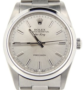 Rolex Mens 2000s Rolex Stainless Steel Air-king Precision No-date Watch Silver 14000m