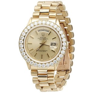 Rolex Mens Diamond Rolex Day-date President 18k Yellow Gold Watch With Band Ct.