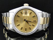 Rolex Mens Excellent Tone Rolex Datejust Oyster Diamond Watch 18ksteel Band 1.5 Ct
