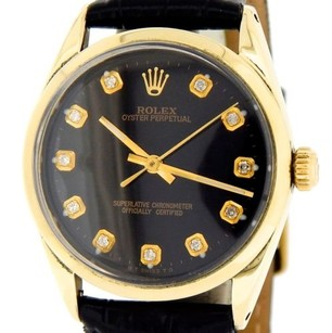 Rolex Mens Rolex 14k Gold Shell Oyster Perpetual No-date Watch Black Diamond 1024