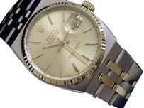Rolex Mens Rolex 18k Gold Stainless Steel Oysterquartz Datejust W Gold Dial 17013