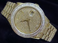 Rolex Mens Rolex 18k Yellow Gold Day-date President Watch W10.00 Ct Pave Diamonds