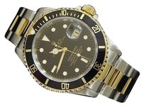 Rolex Mens Rolex 2tone 18k Yellow Goldstainless Steel Submariner Date Black Sub 16613