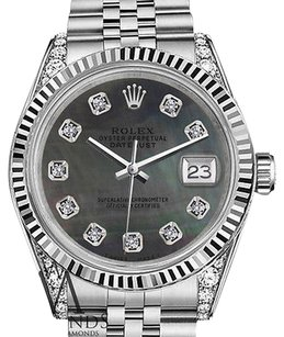 Rolex Mens Rolex 36mm Datejust Black Mop Mother Of Pearl Dial With Diamonds