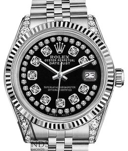 Rolex Mens Rolex 36mm Datejust Glossy Black String Diamond Accent Dial Watch
