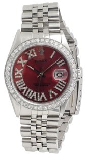 Rolex Mens Rolex 36mm Datejust Jubilee Red Roman Stainless Steel Diamond Watch Ctw.