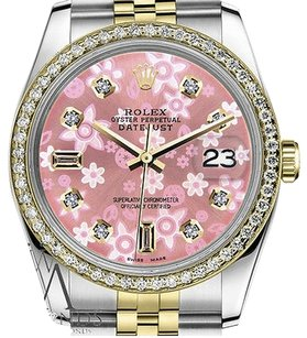 Rolex Mens Rolex 36mm Datejust Tone Glossy Pink Flower Dial With 8+2 Diamond Accent