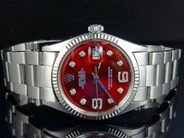 Rolex Mens Rolex Datejust 18k S.steel Fluted Bezel 36mm Oyster Red Dial Diamond Watch