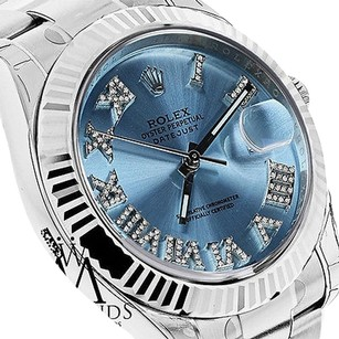 Rolex Mens Rolex Datejust Ii 2ice Blue Diamond Dial Gold Bezel 41mm Automatic 116334