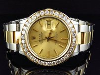 Rolex Mens Rolex Datejust Oyster 18k Stainless Steel Channel Set Diamond Watch Ct