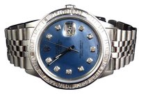 Rolex Mens Rolex Datejust Oyster Steel Blue Pearl Diamond Watch 4 Ct
