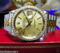 Rolex Mens Rolex Datejust Two-tone Yellow Gold Stainless Steel Diamond Bezel