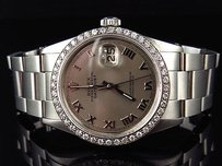 Rolex Mens Rolex Mm Datejust Oyster Stainless Steel White Diamond Watch Ct