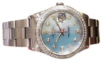 Rolex Mens Rolex Oyster Perpetual Date 34mm Mother Of Pearl Stainless Steel Diamonds
