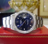 Rolex Mens Rolex Oyster Perpetual Date Stainless Steel Diamond Blue Dial Watch