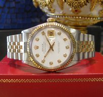 Rolex Mens Rolex Oyster Perpetual Datejust Diamond Dial Yellow Gold Ssteel Watch