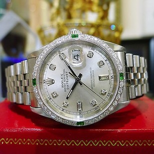 Rolex Mens Rolex Oyster Perpetual Datejust Diamonds White Gold Mother-of-pearl Watch
