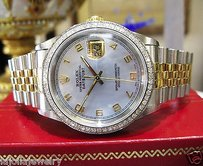 Rolex Mens Rolex Oyster Perpetual Datejust Diamonds Yellow Gold Ssteel Blue Face