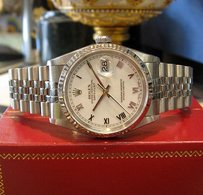 Rolex Mens Rolex Oyster Perpetual Datejust Stainless Steel White Gold Roman Numerals