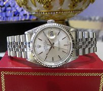 Rolex Mens Rolex Oyster Perpetual Datejust Stainless Steel White Gold Watch