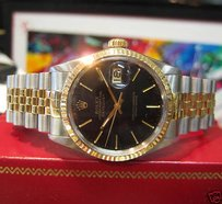 Rolex Mens Rolex Oyster Perpetual Datejust Yellow Gold Stainless Steel Black Dial
