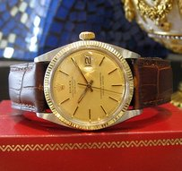 Rolex Mens Rolex Oyster Perpetual Datejust Yellow Gold Stainless Steel Gold Face Watch