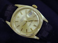 Rolex Mens Rolex Solid 18k Yellow Gold Datejust Wchampagne Dial Black Strap Band 1601