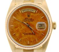 Rolex Mens Rolex Solid 18kt 18k Yellow Gold Day Date President Bark W Wood Dial 18038