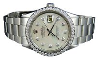 Rolex Mens Stainless Steel Rolex Datejust Oyster Mm Mop Dial Diamond Watch Ct