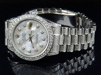 Rolex Mens Stainless Steel Rolex Datejust Presidential Mm Mother Pearl Watch 6.9 Ct