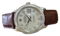 Rolex Mens Vintage Rolex Oyster Perpetual Datejust Diamonds Mother-of-pearl Watch