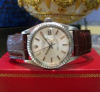Rolex Mens Vintage Rolex Oyster Perpetual Datejust Stainless Steel Engine Turned Bezel