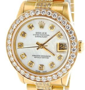 Rolex Mid-size Rolex Solid 18k Yellow Gold Datejust White Mop Diamond President 68278