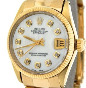 Rolex Midsize Rolex Solid 14k Yellow Gold Datejust White Mother Of Pearl Diamond 6827