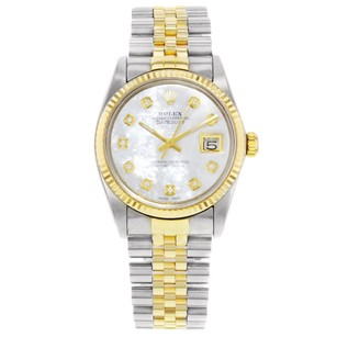 Rolex Datejust 16013 18K Yellow Gold & Steel Holes 1984 MOP Watch (20059)