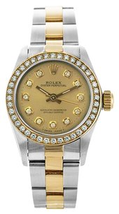 Rolex No Date 18K/SS Custom Diamond Ladies Watch