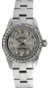 Rolex Rolex Oyster Perpetual Stainless Steel Custom Diamond Silver Dial Ladies Watch