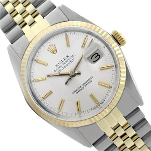 Rolex Preowned Datejust 2Tone Silver Mens Watch 36mm 16013
