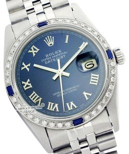 Rolex Preowned Datejust Blue Diamond Sapphire Mens Watch 36mm 16014