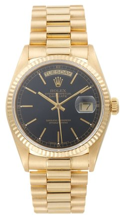 Rolex Rolex Day-Date 18238 18K Yellow Gold Black Dial Men's Presidential Watch