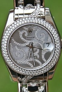 Rolex Rolex 18k 81339 White Gold Pearlmaster Arabesque Spectacular All Diamonds Yr2013