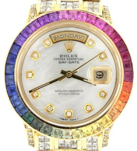 Rolex Rolex 18k Yellow Gold Day-date Super President Diamond Rainbow Sappire 18238