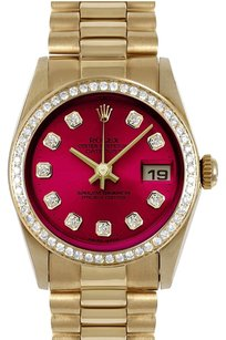 Rolex ROLEX 31mm Mid-Size 18k Yellow Gold Burgundy Diamond Dial President Watch