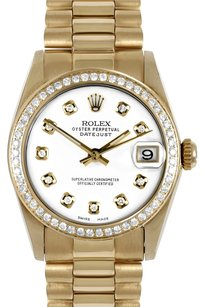 Rolex ROLEX 31mm Mid-Size 18k Yellow Gold White Diamond Dial President Watch