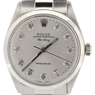 Rolex Rolex Air King Mens Ss Stainless Steel Watch Silver Diamond Dial Oyster 5500