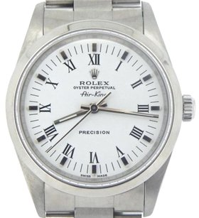 Rolex Rolex Air King Mens Stainless Steel Watch Oyster White Dial W Black Roman 14000
