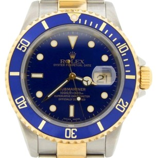 Rolex Rolex Blue Sub 18k Yellow Goldstainless Steel Submariner No Holes Sel 16613t
