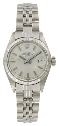Rolex Rolex Date Stainless Steel Silver-tone Dial Ladies Watch