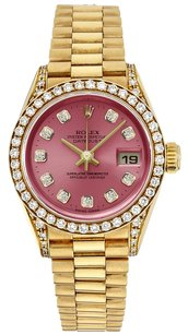 Rolex Rolex Datejust 18K Gold Custom Diamond Pink Dial Ladies Presidential Watch